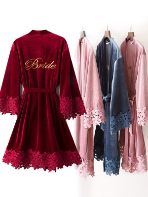 Comfortable Polyester Embroidery Bride Robes