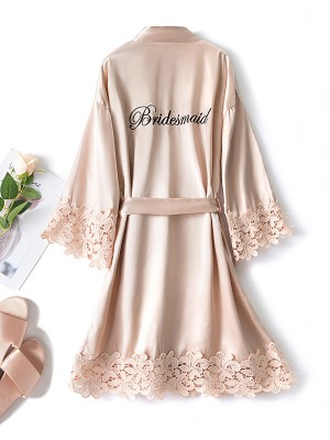 Soft Silk like Satin With Lace Bridesmaid Robes