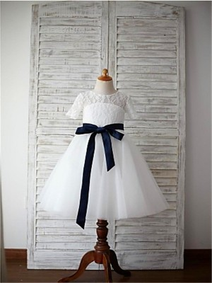 A-Line Tulle Scoop 1/2 Sleeves Tea-Length With Sash/Ribbon/Belt Flower Girl Dresses