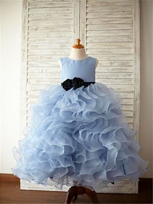 Ball Gown Organza Scoop Sleeveless Floor-Length With Ruffles Flower Girl Dresses