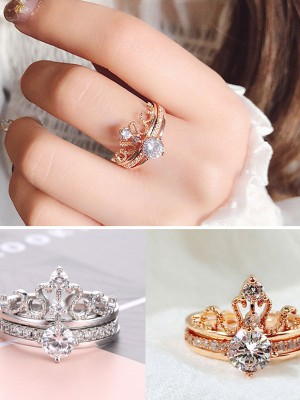 Korean Trending Copper With Rhinestone Adjustable Rings