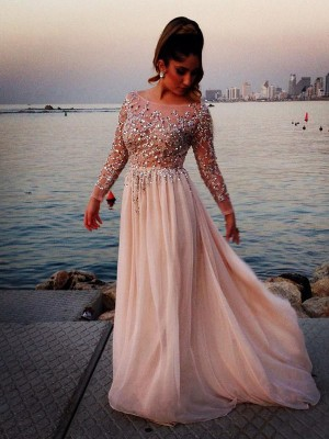 A-Line Chiffon Bateau Long Sleeves Floor-Length With Beading Dresses