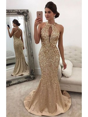 Mermaid Sleeveless Halter With Sequin Sweep/Brush Train Satin Dresses