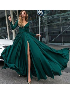 A-Line V-Neck Long Sleeves Floor-Length With Ruffles Satin Chiffon Dresses