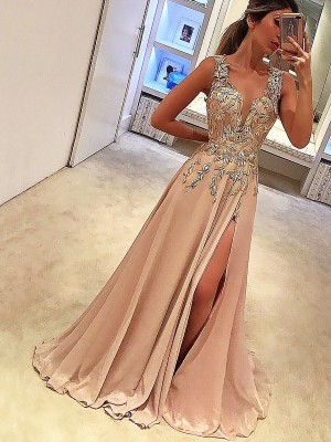 A-Line V-neck Sleeveless Floor-Length With Applique Silk like Satin Dresses