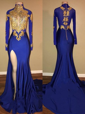 Mermaid High Neck Long Sleeves Sweep/Brush Train With Applique Spandex Dresses