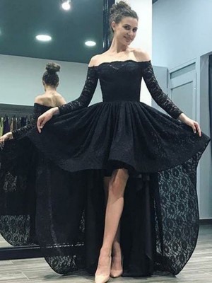 A-Line Off-the-Shoulder Long Sleeves Sweep/Brush Train Asymmetrical Lace Dresses