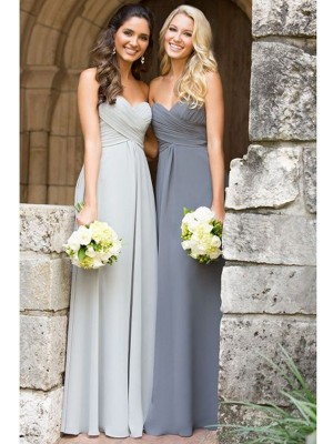 A-Line Chiffon Sweetheart Sleeveless Floor-Length With Ruched Bridesmaid Dresses