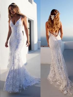 Mermaid Spaghetti Straps Sleeveless Lace Court Train Lace Wedding Dresses
