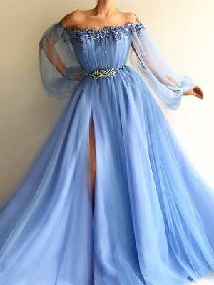 A-Line Long Sleeves Off-the-Shoulder Tulle With Beading Floor-Length Dresses
