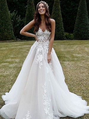 A-Line/Princess Tulle Sleeveless V-neck Sweep/Brush Train Applique Wedding Dresses