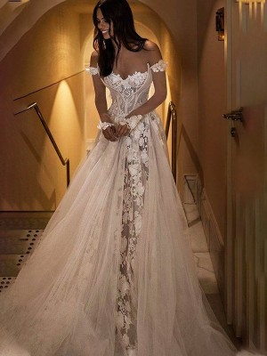 A-Line/Princess Applique Off-the-Shoulder Tulle Sweep/Brush Train Long Sleeves Wedding Dresses
