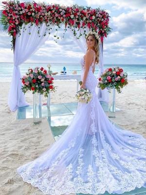 Trumpet/Mermaid Tulle Applique Straps Court Train Sleeveless Wedding Dresses