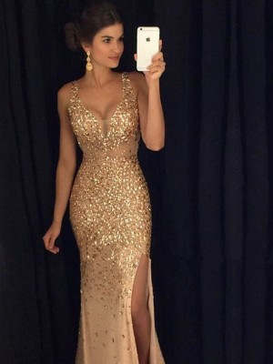 Sheath Jersey V-neck Sleeveless Court Train With Sequin Dresses