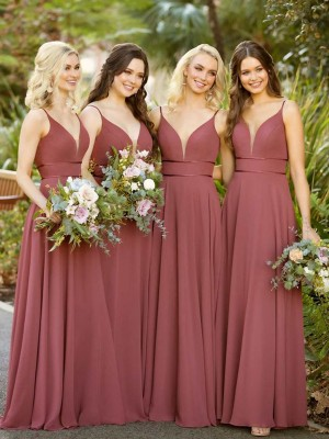 A-Line/Princess Chiffon Floor-Length Sleeveless Spaghetti Straps Ruffles Bridesmaid Dresses