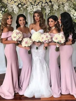 Trumpet/Mermaid Satin Ruffles Off-the-Shoulder Sleeveless Sweep/Brush Train Bridesmaid Dresses