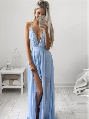 A-Line Chiffon Spaghetti Straps Sleeveless Floor-Length With Ruched Dresses