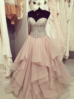 Ball Gown Chiffon Sweetheart Sleeveless Floor-Length With Beading Dresses