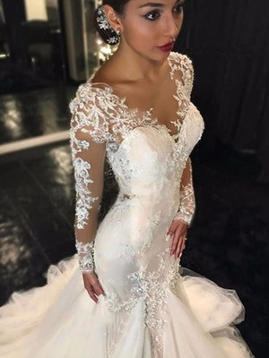 Mermaid Tulle V-neck Long Sleeves Court Train With Lace Wedding Dresses