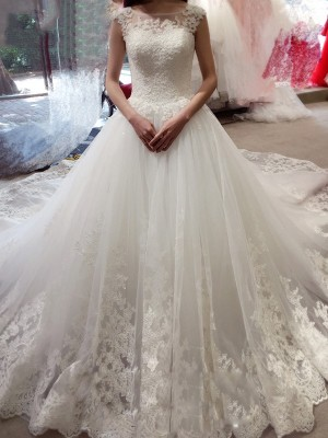 Ball Gown Tulle Bateau Sleeveless Chapel Train With Applique Wedding Dresses