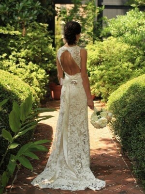 Sheath Lace V-neck Sleeveless Sweep/Brush Train With Bowknot Wedding Dresses