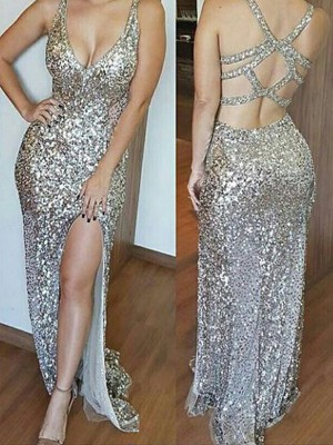 Sheath Sequins V-neck Sleeveless Sweep/Brush Train With Sequin Dresses