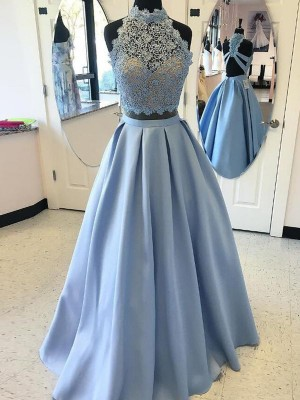 Ball Gown Satin High Neck Sleeveless Floor-Length With Applique Two Piece Dresses