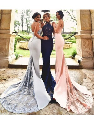 Mermaid Stretch Crepe Halter Sleeveless Sweep/Brush Train With Lace Bridesmaid Dresses
