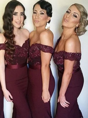 Sheath Satin Off-the-Shoulder Sleeveless Sweep/Brush Train With Lace Bridesmaid Dresses