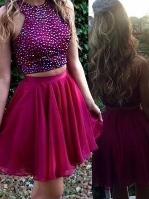A-Line Chiffon Scoop Sleeveless Short/Mini With Beading Dresses