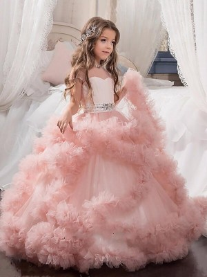 Ball Gown Tulle Jewel Short Sleeves Floor-Length With Crystal Flower Girl Dresses