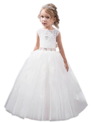 Ball Gown Tulle Jewel Sleeveless Floor-Length With Crystal Flower Girl Dresses