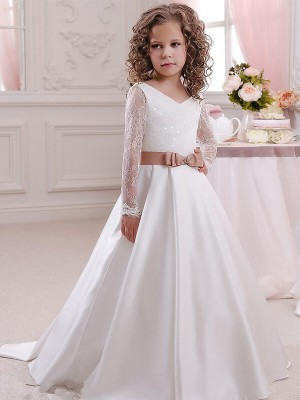 Ball Gown Satin V-neck Long Sleeves Floor-Length With Lace Flower Girl Dresses