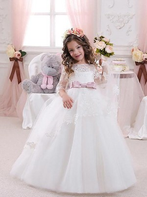 Ball Gown Tulle Jewel 1/2 Sleeves Floor-Length With Lace Flower Girl Dresses