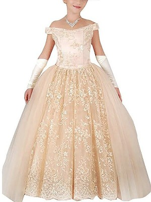 Ball Gown Tulle Off-the-Shoulder Sleeveless Floor-Length With Applique Flower Girl Dresses