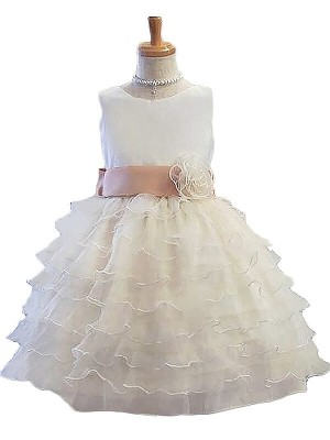 A-Line Tulle Jewel Sleeveless Short/Mini With Hand-Made Flower Flower Girl Dresses