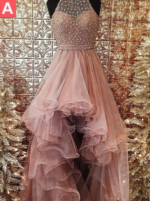 Ball Gown Halter Sleeveless With Beading Asymmetrical Tulle Dresses