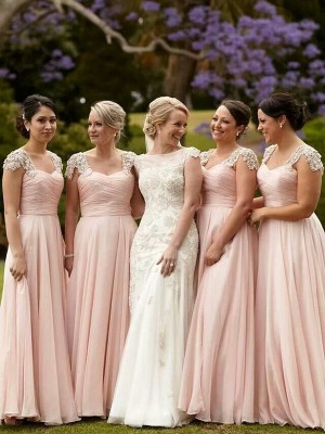 A-Line Chiffon Square Short Sleeves Floor-Length With Beading Bridesmaid Dresses