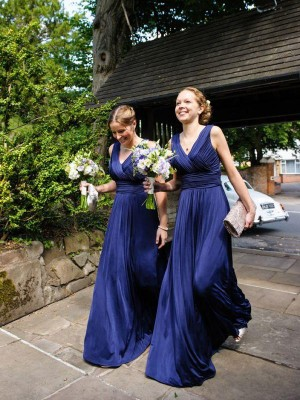 A-Line Chiffon V-neck Sleeveless Floor-Length With Pleats Bridesmaid Dresses