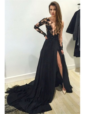 A-Line Chiffon Bateau Long Sleeves Court Train With Lace Dresses