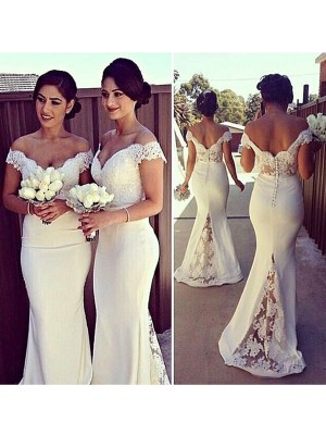 Mermaid Satin Off-the-Shoulder Sleeveless Sweep/Brush Train With Lace Dresses