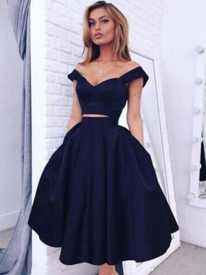 A-Line Satin Off-the-Shoulder Sleeveless Knee-Length With Ruffles Dresses