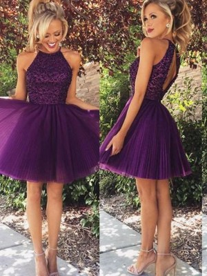 A-Line Tulle Halter Sleeveless Short/Mini With Beading Dresses