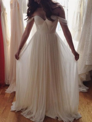 A-Line Chiffon Off-the-Shoulder Sleeveless Floor-Length With Beading Dresses