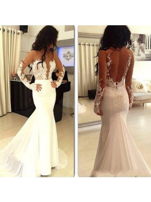 Mermaid Chiffon Scoop Long Sleeves Sweep/Brush Train With Applique Dresses