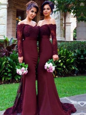 Mermaid Satin Off-the-Shoulder Long Sleeves Sweep/Brush Train With Lace Bridesmaid Dresses