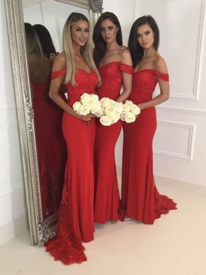 Mermaid Jersey Off-the-Shoulder Sleeveless Floor-Length With Lace Bridesmaid Dresses