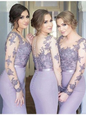 Mermaid Jersey Scoop Long Sleeves Floor-Length With Lace Bridesmaid Dresses