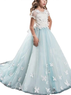 A-Line Tulle Scoop Short Sleeves Floor-Length With Lace Flower Girl Dresses