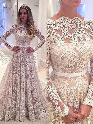 A-Line Bateau Long Sleeves Lace Court Train Wedding Dresses